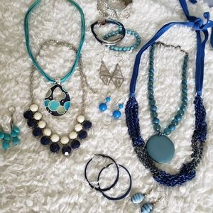 Jewelry - Teal and Navy Blue Assorted Mixed Jewelry Lot